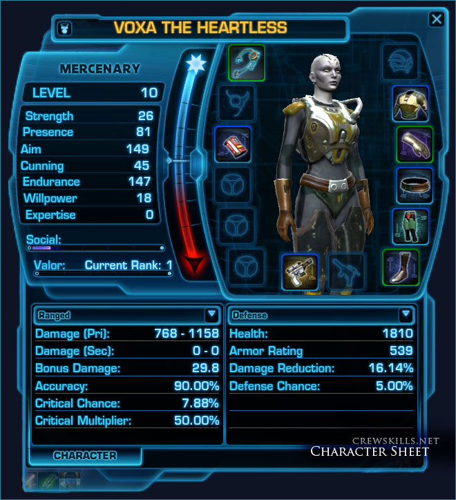 SWTOR character pane, showing stats and equipment slots