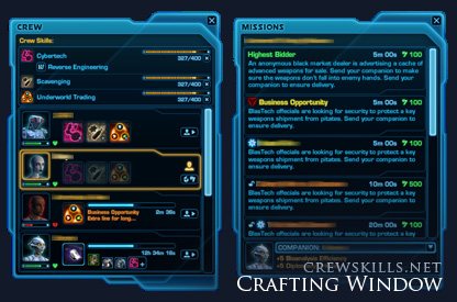 SWTOR crafting interface
