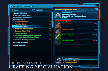 SWTOR crafting interface showing specialisation