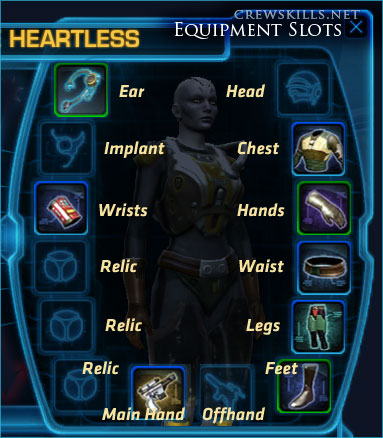SWTOR character pane, with labelled equipment slots